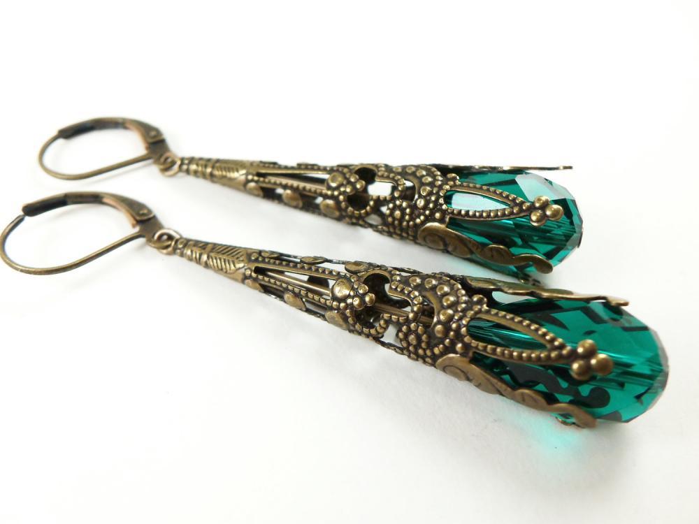 Emerald Green Earrings Brass Filigree Leverback Teardrop Earrings Victorian Jewelry