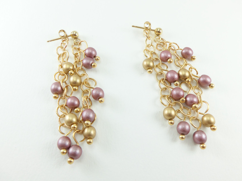 893907f53 Bridal Earrings - Wedding Jewelry - Wedding Earrings - Gold Dangle Earrings  - Chain Earrings - Mauve on Luulla